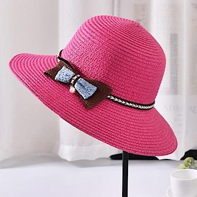 米蘭精品 草帽防曬遮陽漁夫帽-清新可愛蝴蝶結時尚女帽子母親節禮物73rp146