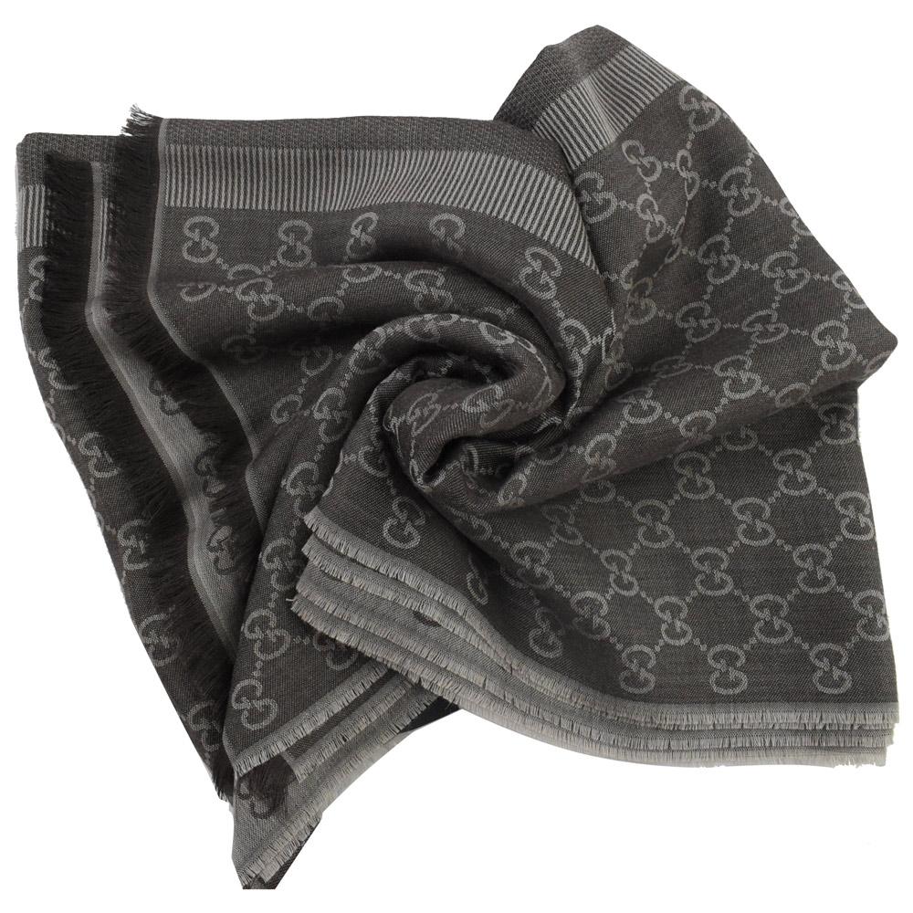 GUCCI 經典G LOGO雙色款造型圍巾/披肩(深咖)GUCCI
