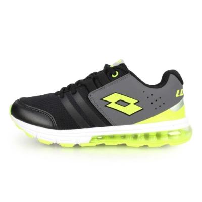 LOTTO 男女大童避震氣墊跑鞋-慢跑 路跑 黑灰螢光綠