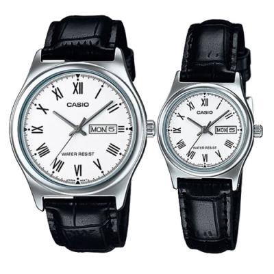CASIO 經典羅馬時刻日曆星期指針皮帶對錶(MTP-V006L-7B+LTP-V006L-7B)