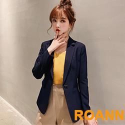 簡約風純色翻領西裝外套 (共四色)-ROANN