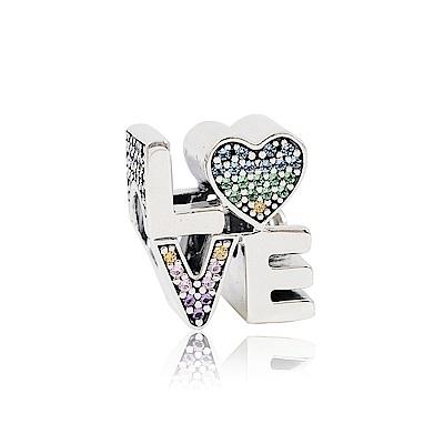 Pandora 潘朵拉 魅力LOVE字母鑲鋯 純銀墜飾 串珠
