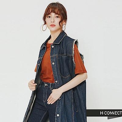 H:CONNECT 韓國品牌 女裝-街頭感牛仔背心外套-藍