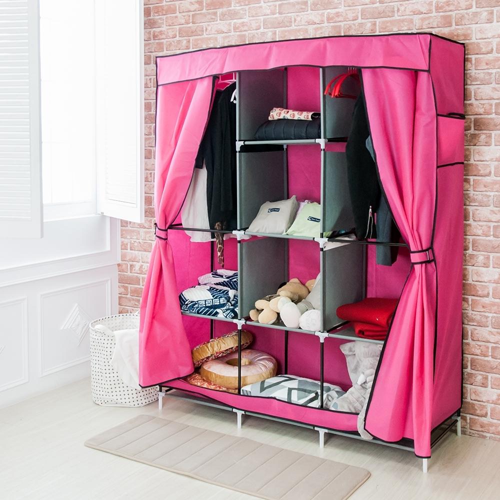 樂嫚妮 DIY組合防塵衣櫃/衣櫥-粉