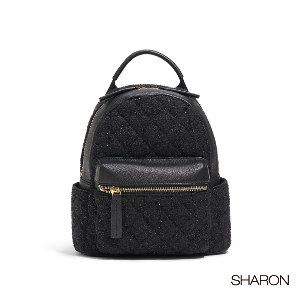【SHARON 雪恩】頭層牛皮Joy亮片織布後背包(黑色32108BK)