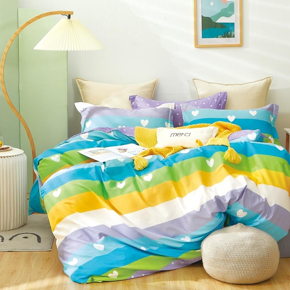 (限時下殺) La Lune台灣製精梳棉床包被套組 單/雙/大均價 (密羽-藍)