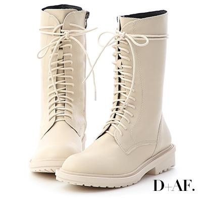 D+AF 帥氣作風.圓頭綁帶中筒馬汀馬丁短靴*米白