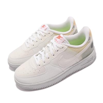 Nike 休閒鞋 Force 1 Crater PS 童鞋 再生材質 舒適穿搭 輕量 中童 風車logo 白 DH4340-100