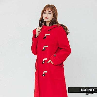 H:CONNECT 韓國品牌 女裝-雙口袋牛角扣連帽外套-紅