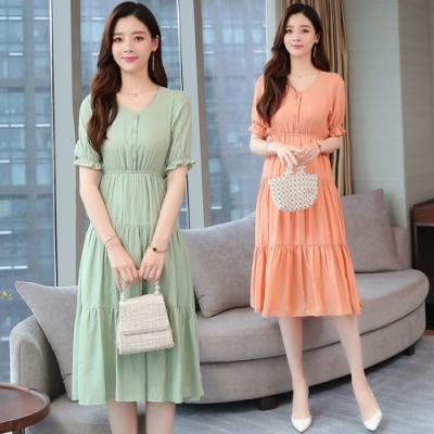 甜美氣質鬆緊腰寬鬆波浪裙襬洋裝M-2XL(共二色)-REKO