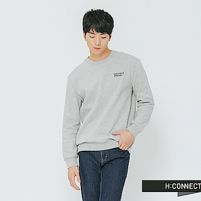 H:CONNECT 韓國品牌 男裝-後印字活力感大學T-灰