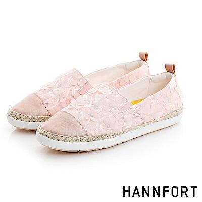 HANNFORT CALIFORNIA蕾絲花朵鉛筆漁夫鞋-女-石英粉