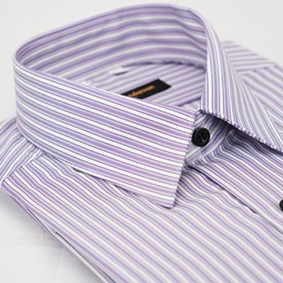 金‧安德森 紫色白條紋黑扣吸排窄版長袖襯衫fast