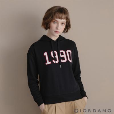 GIORDANO  女裝經典CAMPUS連帽T恤 - 01 標誌黑