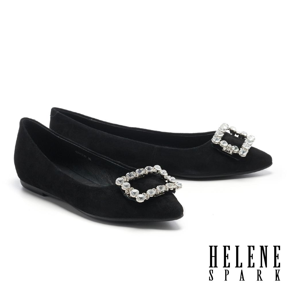 平底鞋 HELENE SPARK 高尚典雅晶鑽方釦全真皮尖頭平底鞋-黑
