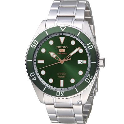 SEIKO 精工5號盾牌水鬼型機械錶(SRPB93J1)綠/44mm