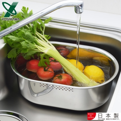 YOSHIKAWA 日本進口不鏽鋼長圓型洗米/洗菜盆