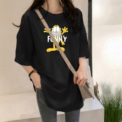 2F韓衣-簡約時尚印花寬鬆舒適造型上衣-3色(M-2XL)