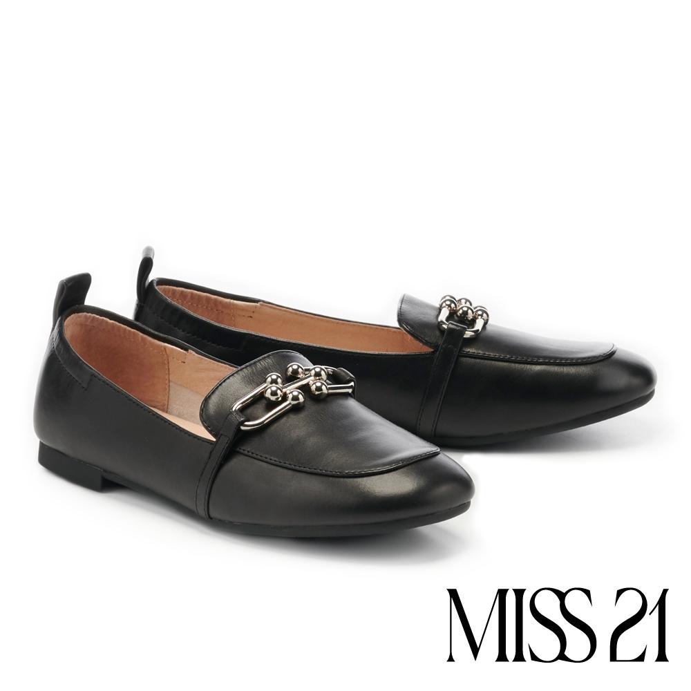 平底鞋 MISS 21 文青風時髦金屬鏈釦全真皮方頭樂福平底鞋-黑