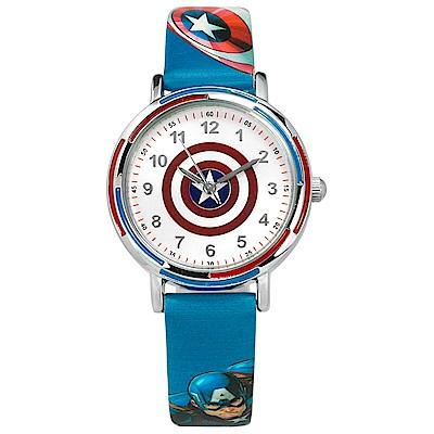 Disney 迪士尼漫威系列美國隊長日本機芯兒童卡通皮革手錶-銀白x藍/32mm