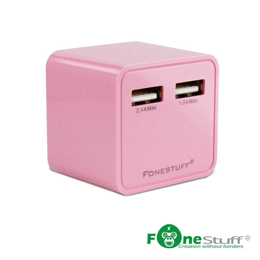 【福利品】FoneStuff 3.4A雙USB充電器-粉 FW001(2入組)