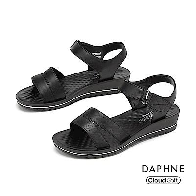 達芙妮DAPHNE 涼鞋-簡約時尚舒適休閒涼鞋-黑色