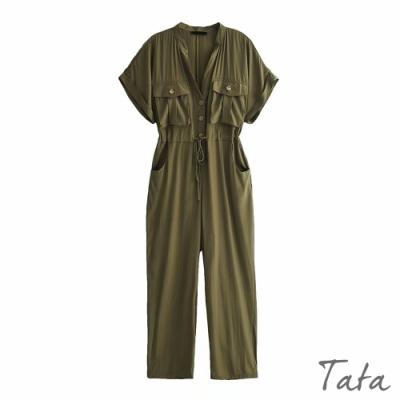 寬鬆V領繫帶連身褲 TATA-(M/L)