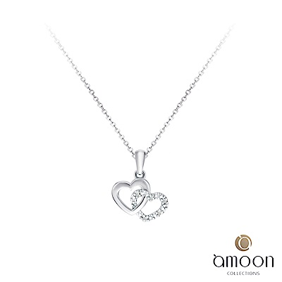 amoon  浪漫艾菲爾系列 相愛 K金鑽石墜子 送項鍊