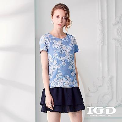 IGD英格麗 悠閒熱帶植物印花上衣
