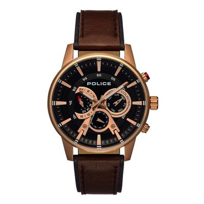 POLICE 潮流騎士多功能腕錶-玫瑰金x棕色(15523JSR-02)-48mm