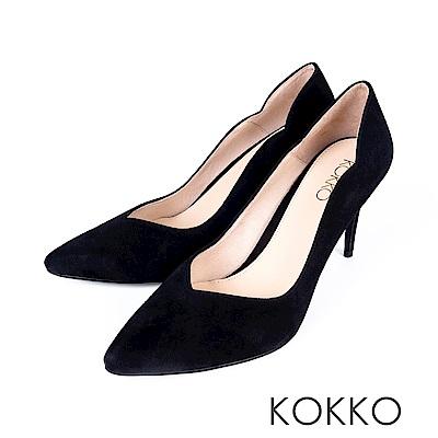 KOKKO - 華麗邂逅波浪V字領口高跟鞋-霧面黑