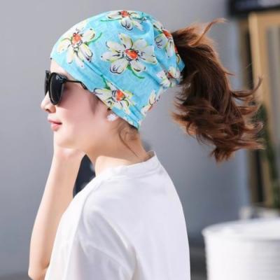 【89 zone】法式優雅薄款透氣套頭防風/頭巾帽(淺藍底花朵)