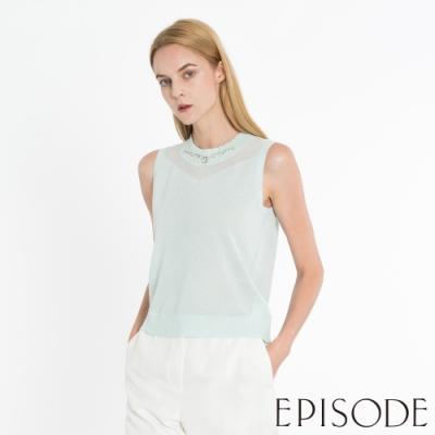EPISODE - 清爽薄荷綠半高領透膚性感鑽飾無袖針織衫上衣