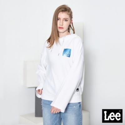 Lee帽T上衣 短版方形LOGO長袖連帽厚TEE UR 女款 白色