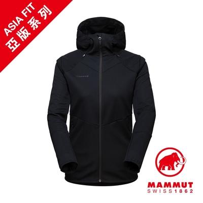 【Mammut】Ultimate VI SO Hooded Jacket AF Women 防潑水軟殼連帽外套 黑色 女款 #1011-01410