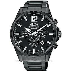 (時時樂)ALBA 雅柏 ACTIVE 活力運動計時手錶(AT3D29X1)-鍍黑/43mm