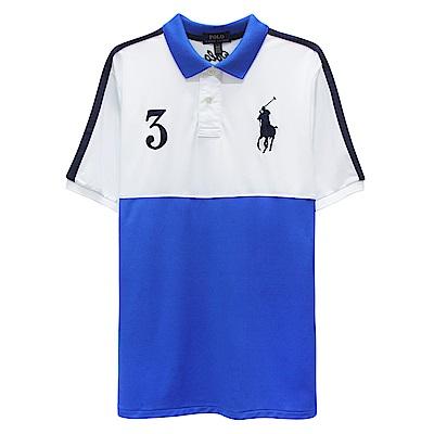 Ralph Lauren 大童大馬拼接短袖POLO衫-藍色(L/14-16歲)