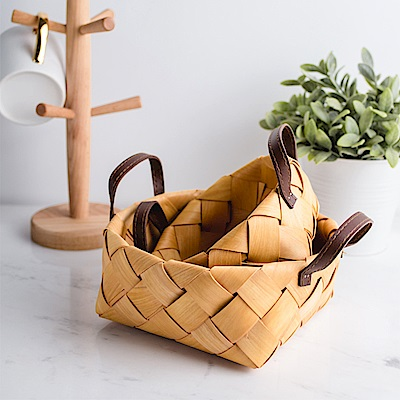 Homely Zakka 木趣食光手工木片手提編織籃/野餐籃/收納籃2入/組(大+小)