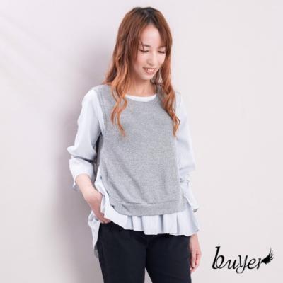 白鵝buyer 襯衫綁帶背心兩件式造型上衣-淺灰