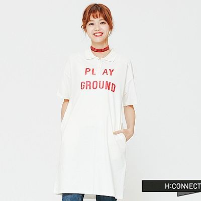 H:CONNECT 韓國品牌 女裝 - 領口設計印字洋裝-白