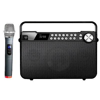 大聲公樂聲型無線式多功能手提行動音箱/喇叭(單手持麥克風組)