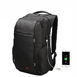 leaper KINGSONS USB充電防潑水防盜13.3吋筆電雙肩後背包 黑色
