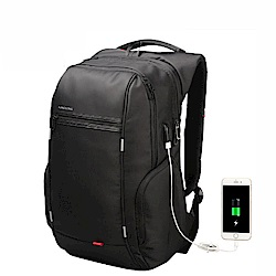 leaper KINGSONS USB充電防潑水防盜17.3吋筆電雙肩後背包 黑色