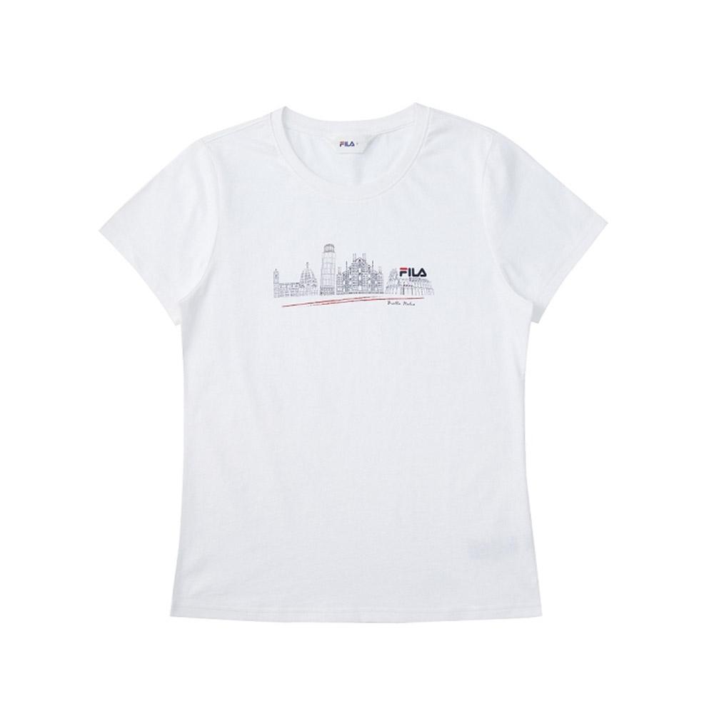 FILA 女短袖圓領T恤-白色 5TEV-1522-WT