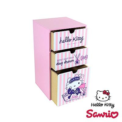 Hello Kitty 文青風 凱蒂貓 直立式三抽盒 桌上收納 文具收納 飾品收納