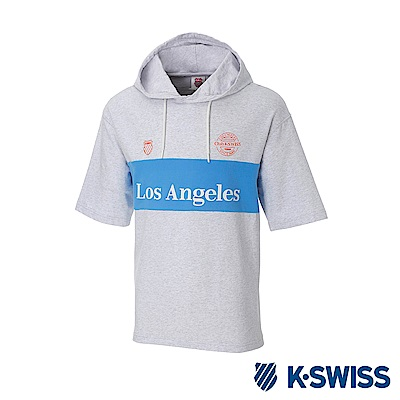 K-SWISS Club Hood T-Shirt短袖連帽上衣-男女-淺灰