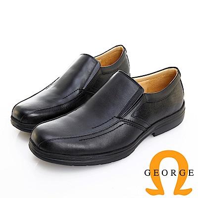 GEORGE 喬治皮鞋 輕量系列 素面真皮斜切口懶人鞋-黑