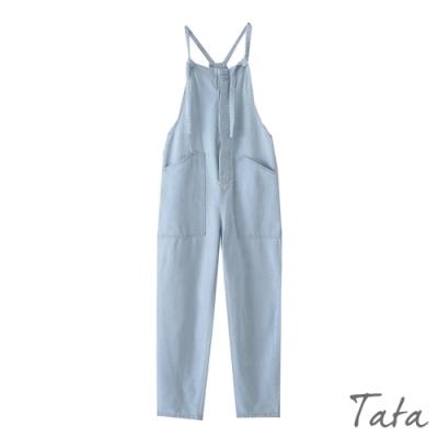 直排暗扣吊帶牛仔褲 TATA-(S~L)
