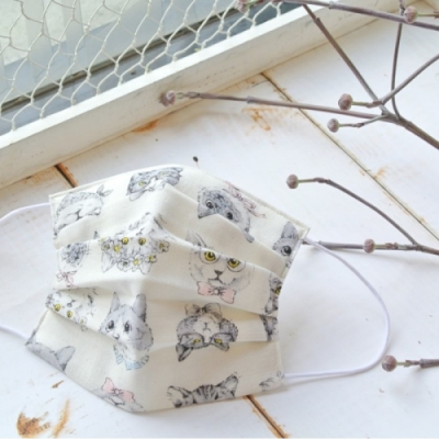 TEMARIYA 日本製 可水洗手作立體口罩M(變裝喵喵)-白喵