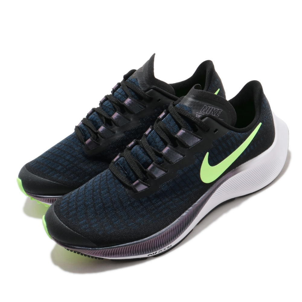 Nike 慢跑鞋 Zoom Pegasus 37 女鞋 氣墊 避震 路跑 透氣 健身 大童 黑 綠 CJ2099001